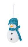 Natale d'argento che appende pupazzo di neve Immagini Stock