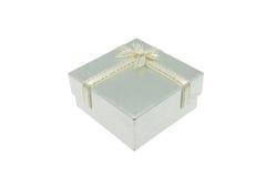 Natale d'argento e contenitore di regalo importante di festival Immagini Stock Libere da Diritti