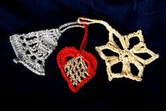 Natale Deco del Crochet Fotografia Stock Libera da Diritti