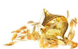 Natale decorativo dell'oro Fotografie Stock