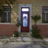 Natale decorato, Atene Grecia della porta Fotografia Stock