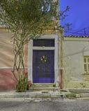Natale decorato, Atene Grecia della porta della Camera Fotografia Stock Libera da Diritti