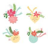 Natale del fiore dell'insieme di etichetta Fotografia Stock