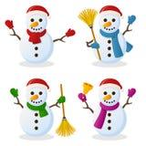Natale del fumetto del pupazzo di neve fissato Fotografia Stock Libera da Diritti