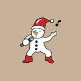 Natale del pupazzo di neve di canto Immagine Stock Libera da Diritti