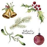 Natale dell'acquerello fissato Raccolta dipinta a mano con le campane, il vischio, l'agrifoglio, il ramo dell'abete e la palla di Fotografia Stock Libera da Diritti