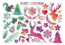 Natale dell'acquerello, insieme di vettore illustrazione di stock