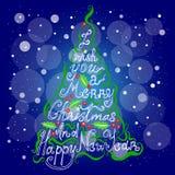 Natale dell'iscrizione, nuovo anno, albero di Natale Fotografie Stock Libere da Diritti