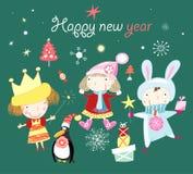 Natale della cartolina d'auguri con i bambini Immagine Stock