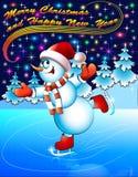 Natale della cartolina del fondo con pattinare della neve Fotografia Stock