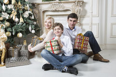 Natale della famiglia Fotografie Stock Libere da Diritti