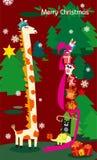 Natale della giraffa Fotografie Stock Libere da Diritti
