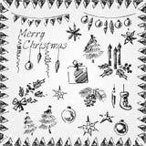Natale della matita di grafite fissato con neve Fotografia Stock