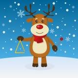 Natale della renna sulla neve Fotografia Stock