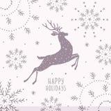 Natale della siluetta dei cervi Fotografia Stock Libera da Diritti
