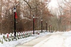 Natale delle lampade di via di vecchio stile fotografie stock