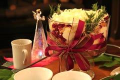 Natale dessert e decorazione della tavola Fotografie Stock Libere da Diritti