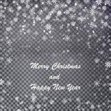 Natale di caduta che splende struttura con testo, bello trasparente Immagini Stock