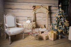 Natale di legno interno Immagine Stock Libera da Diritti
