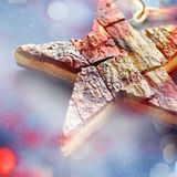 Natale di legno Toy New Year Natural Gift della stella fotografie stock libere da diritti