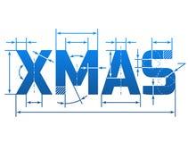 Natale di parola con le linee di dimensione Fotografie Stock Libere da Diritti