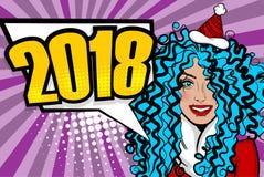 Natale di saluto di Pop art della donna Immagini Stock Libere da Diritti