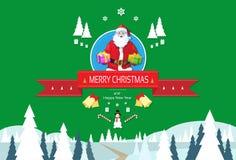 Natale di Santa Claus Greeting Card With Merry Fotografia Stock Libera da Diritti