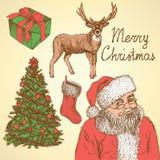 Natale di schizzo fissato nello stile d'annata Fotografia Stock Libera da Diritti