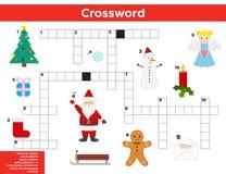 Natale di vettore, parole incrociate del nuovo anno in inglese Fotografie Stock Libere da Diritti
