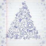 Natale disegnato a mano fissato. illustrazione di stock