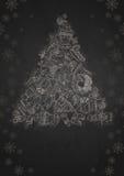 Natale disegnato a mano fissato. Fotografia Stock