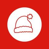 Natale disegnato a mano icona, linea rossa, isolata nel bianco illustrazione di stock