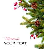 Natale. Disegno del confine dell'albero di abete Immagini Stock Libere da Diritti