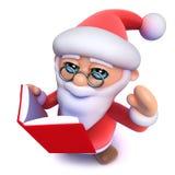 Natale divertente Santa Claus del fumetto 3d che legge un libro illustrazione vettoriale