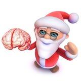 Natale divertente Santa Claus del fumetto 3d che tiene un cervello umano royalty illustrazione gratis