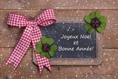Natale e buon anno nelle parole francesi Fotografie Stock Libere da Diritti