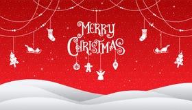 Natale e buon anno 2018, tipografia, backgrou di rosso di natale Fotografia Stock Libera da Diritti