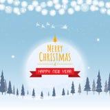 Natale e buon anno, vettore della luna dell'albero di Natale grande fotografie stock