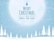 Natale e buon anno, vettore della luna dell'albero di Natale grande fotografia stock libera da diritti
