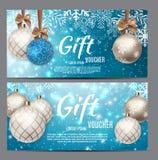 Natale e buono di regalo del nuovo anno, illustrazione di vettore del modello del buono di sconto Fotografia Stock