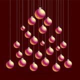 Natale e cartolina con le palle, siluetta del nuovo anno dell'albero di Natale Cartolina d'auguri dell'illustrazione di vettore S Fotografia Stock Libera da Diritti