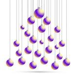 Natale e cartolina con le palle, siluetta del nuovo anno dell'albero di Natale Cartolina d'auguri dell'illustrazione di vettore S Immagini Stock