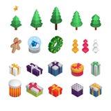 Natale e decorazione isometrica del nuovo anno: Albero di Natale, decorazione, regali, biscotto, corona di Natale illustrazione d fotografia stock libera da diritti