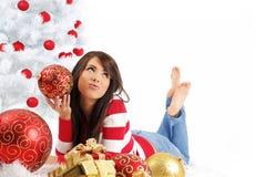 Natale e donna Fotografia Stock Libera da Diritti