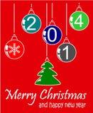 Natale e 2014 felice Illustrazione di Stock