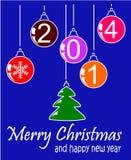 Natale e 2014 felici blu Illustrazione Vettoriale
