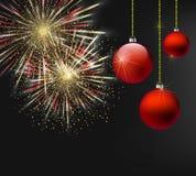 Natale e fondo scuro del nuovo anno con i fuochi d'artificio e le decorazioni di Natale Vettore eps10 Immagine Stock