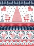 Natale e modello senza cuciture di inverno festivo in punto trasversale con gli alberi di natale, fiocchi di neve, renna, stelle, Immagini Stock Libere da Diritti