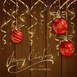Natale e nuovi anni che segnano con le palle rosse Fotografia Stock Libera da Diritti