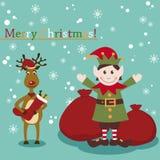 Natale e nuovi anni di cartolina d'auguri con l'elfo e Fotografie Stock Libere da Diritti